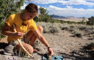 Wilderness teen busting to make fire in the desert