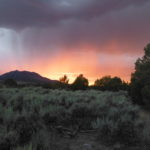 orange sunset over sage brush