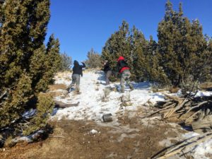 snowball fight in wilderness with three boys