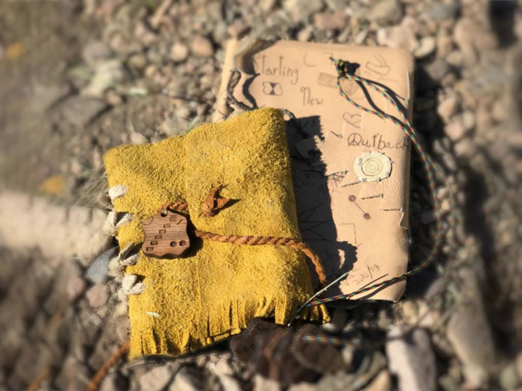 A handmade Journal made by a student at Outback Therapeutic Expeditions for Teens